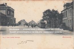 ZELDZAAM *** STOOMTRAM 6 HEERENVEEN 1901 STATION / KAART AFGESTEMPELD DE KNIJPE / AANKOMST RAALTE - Heerenveen