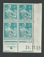 Moisonneuse 4 Francs N°106 Coin Daté Du 24 11 55 ** - Esquina Con Fecha