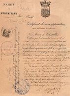 VP16.290 - Ville De VERSAILLES - Acte De 1885 - Généalogie - Mariage Entre Mr CORDELLIER à BELLOT & Melle BUVELOT - Vecchi Documenti