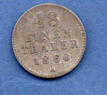 Mecklenburg - Schwerin  --  1/48 Thaler 1860 A -- Km # 311  -  état  TB - [ 1] …-1871 : Estados Alemanes