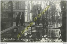 92. ASNIERES . Inondation 1910 Rue De Bretagne .  PHOTO-CPA . - Asnieres Sur Seine