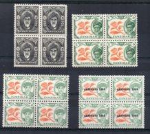 Zanzibar - 1952/64 - Definitives (4 Blocks Of 4) - MNH - Zanzibar (...-1963)