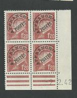 Pétain 1,20 Franc N° P85 Coin Daté Du 2 2 1942 Charnière Sur 1 Timbre - Precancels