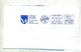 Grand Fragment De Lettre Flamme Ema Saint Parres Commune - Marcophilie (Lettres)