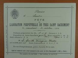 Sautin 1910 Adoration Perpétuelle Du Très Saint Sacrement - Oude Documenten