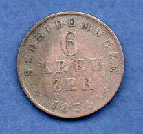 Hessen Cassel  --  6 Kreuzer 1835  -- Km # 297  -  état  TB+ - [ 1] …-1871 : Estados Alemanes