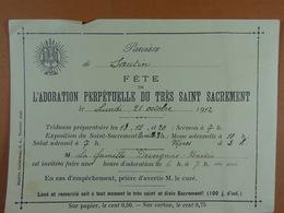 Sautin 1912 Adoration Perpétuelle Du Très Saint Sacrement - Oude Documenten