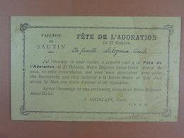 Sautin Invitation à La Fête De L' Adoration J.Ghislain,Curé - Oude Documenten