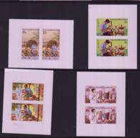 LAOS - 1980 - HANDICRAFTS SET OF 4 IN IMPERFORATE PAIRS MINT NEVER HINGED - Laos