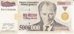 BILLETE DE TURQUIA DE 5000000 LIRASI DEL AÑO 1997 EN CALIDAD EBC (XF) (BANKNOTE) - Turchia