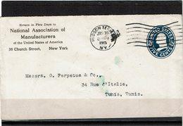LCTN59/LE/2 - USA ENVELOPPE HUDSON TERM / TUNIS 30/1/1915 - Entiers Postaux