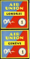 1923 - 1933 AVIATION AIR UNION (future Air France) Etiquettes Bagage (Luggage Labels) - Altri