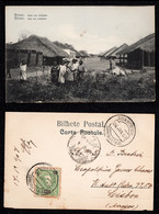1907 - Portugal Guinea Bissau Postcard Circulated From S. Tomé To Lisbon. Native Street. 10r Stamp. - Guinea-Bissau