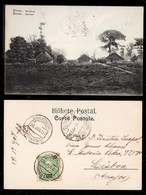 1907 - Portugal Guinea Bissau Postcard Circulated From S. Tomé To Lisbon. Bissau Surroundings. 10r Stamp. - Guinea-Bissau