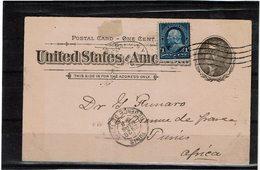 LCTN59/LE/2 - USA CARTE POSTALE ALBANY / TUNIS MARS 1898 - Postal Stationery