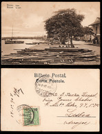 1907 - Portugal Guinea Bissau Postcard Circulated From S. Tomé To Lisbon. Bissau Wharf. Boats. 10r Stamp. - Guinea-Bissau