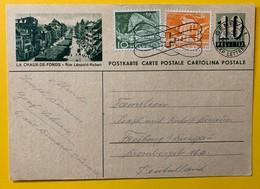 9644 - Entier Postal Illustration La Chaux-de-Fonds Rue Léopold Robert Genève 27.11.1944 Pour L'Allemagne - Enteros Postales