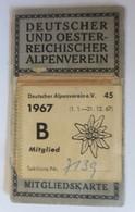 Deutscher U. Österreichischer Alpenverein Mitgliedskarte, Edelweiß, 1967♥(64058) - Alte Papiere