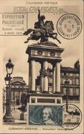 Sur CP Clermont Ferrand Monument Vercingétorix CAD Journée Du Timbre 5 3 39 Clermont F + Exposition Philatélique - Commemorative Postmarks