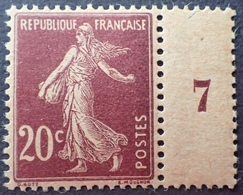 R1189/327 - 1907 - TYPE SEMEUSE - N°139e (I) NEUF** Mill. 7 - PAPIER GC - TRES BON CENTRAGE - Francia