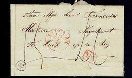 """LSC De Boite """" O """" / Sittard 10 4 184? => Liège Griffe """" SR """" 2 Ports - ...-1852 Préphilatélie"""