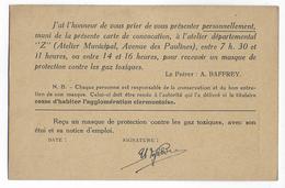 1940 - CP En FRANCHISE Du SERVICE De La DEFENSE NATIONALE De La PREFECTURE Du PUY DE DOME - PERCEPTION MASQUE à GAZ ! - Marcophilie (Lettres)