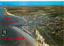 76 - Le Tréport - Mers Les Bains - Vue Générale Aérienne - Blasons - Flamme Postale De Eu - Voir Scans Recto-Verso - Le Treport