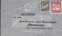 Chile Correo Aereo Aeroplane Cachet In Paper SANTIAGO 1938 Cover Brief Sparkasse HANNOVER Germany - Chile