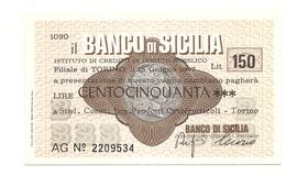 1977 - Italia - Banco Di Sicilia - Sindacato Commercianti Imprese Prodotti Ortofrutticoli - Torino - [10] Scheck Und Mini-Scheck