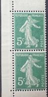 R1189/340 - 1907 - TYPE SEMEUSE - PAIRE VERTICALE DE CARNET - N°137c TIMBRES NEUFS** - Ungebraucht