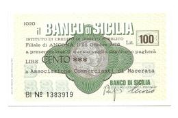 1976 - Italia - Banco Di Sicilia - Associazione Commercianti Di Macerata - [10] Scheck Und Mini-Scheck