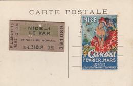 Nice Gare Du PLM + Billet De Train Collé Verso Nice 1 Vers  Le Var ,3e Classe En 1915 ? - Transport (rail) - Station