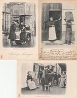 3 CPA:PARIS (75) PHOTOGRAPHE EN PLEIN AIR,MARCHANDE DE JOURNAUX,CHARBONNIER ET CONCIERGE - Petits Métiers à Paris