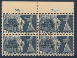HELVETIA - Dienstmarken/Timbres De Service: B.I.T.- Mi Nr 58 (Viererblock) - Gest./obl. - Cote 80,00 € - Dienstpost