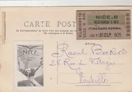 Nice Gare   + Billet De Train Collé Verso Nice 6 Vers  Villefranche  ,3e Classe ( 1906 ? ) - Transport Ferroviaire - Gare
