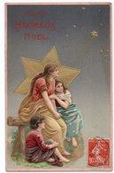 NOEL* NATIVITE * Carte Gaufrée & Dorée * ETOILE DE DAVID * FAMILLE * édit. K.F., Paris * Série 01922 - Noël