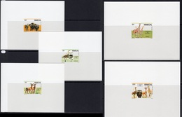 Senegal 1986, Girafes, Bufaloes, Ostriches, 5Deluxe  Block - Straussen- Und Laufvögel