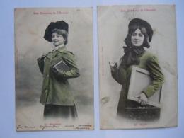 2 Cartes Les Femmes De L'Avenir 11 Etudiant 15 Rapin Précurseurs Circulée 1903 Un Peu Sale - Women
