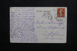 FRANCE - Cachet De Facteur Sur Type Semeuse Sur Carte Postale En 1913 Pour Sofia - L 49621 - 1877-1920: Période Semi Moderne