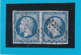 """N° 14 A + OBLIT. DE PARIS  LOSANGE Grand Logement """"  E """"  Bureau PLACE DE LA MADELEINE   - REF 14112 - 1853-1860 Napoleon III"""