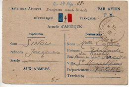 Carte De FM (drapeau Sans Traits Horizontaux) Par Avion Armée D'Afrique Oblitérée Du 19.10.44 - Storia Postale