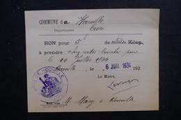 FRANCE - Bon De 5 Kg De Viandes De La Commune De Hauville En 1934 Pour Le 14 Juillet - L 49626 - Collezioni