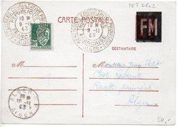 Carte Pétain Surchargée FM Au Tampon - CaD De L'assemblée Consultative Provisoire D'Alger Du 9.11.43 - Standard- Und TSC-AK (vor 1995)