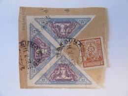 Lituanie / Lietuva - 4 Timbres Sur Fragment Dont Bande De 3 X 40 Centu Non-dentelés - 1933 - Lituanie