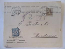 Empire Allemand - Façade D'enveloppe Timbre Deutsches Reich YT N°67 + Taxe Française 5c Bleu YT N°28 - 1909 - Lettres & Documents