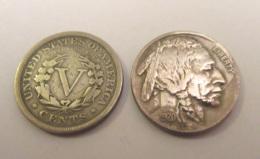 Etats-Unis / USA - 2 Monnaies 5 Cents Liberty 1908 Et Indian Head 1920 - Émissions Fédérales