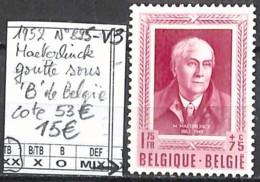 [844646]TB//**/Mnh-c:53e-Belgique 1952 - N° 895-V3, Maeterlinck Goutte Sous 'B' De Belgie, Personnalités - Varietà E Curiosità