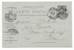 """1897 - CARTE ENTIER TYPE SAGE AveC SUPERBE REPIQUAGE ILLUSTRE PUB """"MERCERIE A LA FILEUSE"""" à TOURS (INDRE ET LOIRE) - Entiers Postaux"""