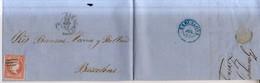 Año 1856 Edifil 48 Isabel II Carta Matasellos Rejilla Zaragoza Membrete De J.Almor De Zaragoza - 1850-68 Reino: Isabel II
