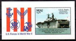 """(WK-Alb2)) Palau Mi Block 32 """"WWII - 50th ANNIVERSARIE INVASION OF PELELIO - U.S.S. Pelelio""""  ** Postfrisch - Palau"""